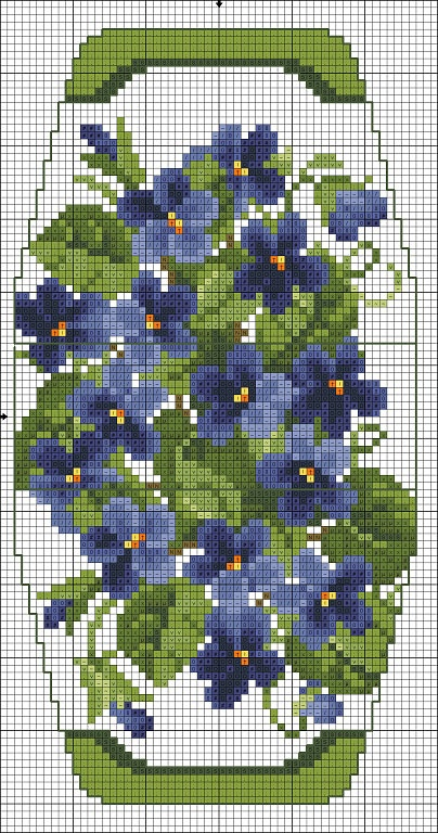 Cross-stitch Floral Purse chart... no color chart available, just use pattern chart as your color guide.. or choose your own colors...