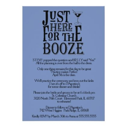 #Here for the Booze Rehearsal Dinner Invitation - #GroomGifts #Groom #Gifts Groom Gifts #Wedding #Groomideas