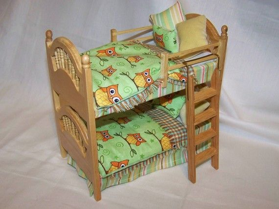 DOLLS HOUSE MINIATURES - PINE BUNK BEDS WITH GREEN OWL FABRIC