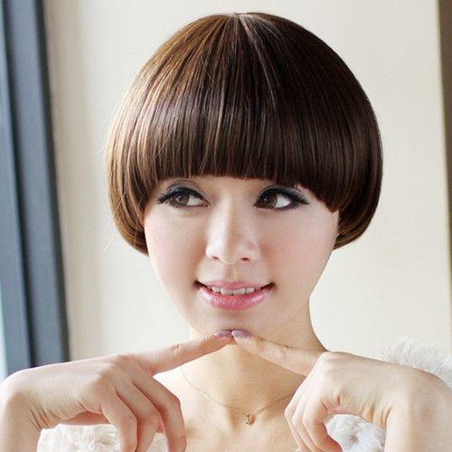 Mushroom Hairstyle rihannas mushroom haircut 2014 New Sexy Women Fashion Mushroom Haircut Synthetic Hair Short Wigs Free Shipping
