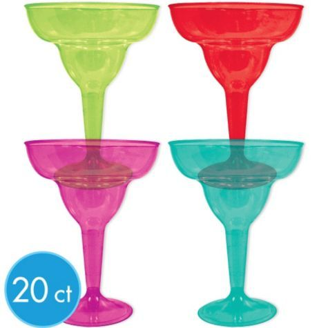 Assorted Color Fiesta Plastic Margarita Glasses - Party City @Marcia Brockmeyer we should get these probably right?
