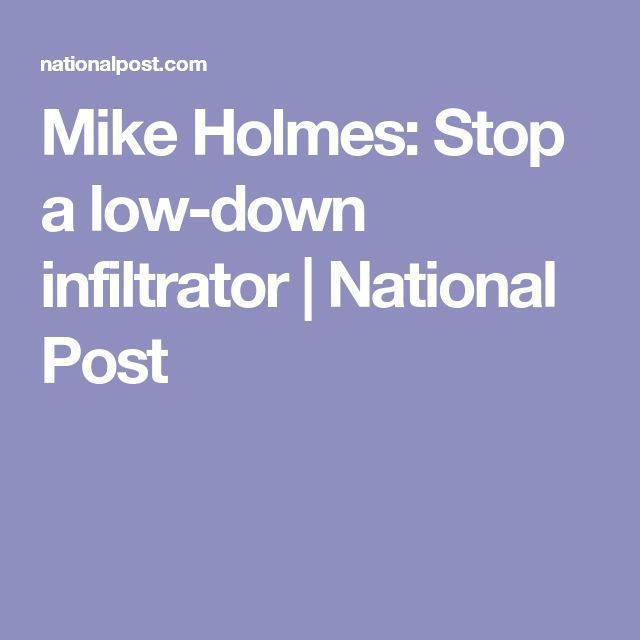 Mike Holmes: Stop a low-down infiltrator   National Post