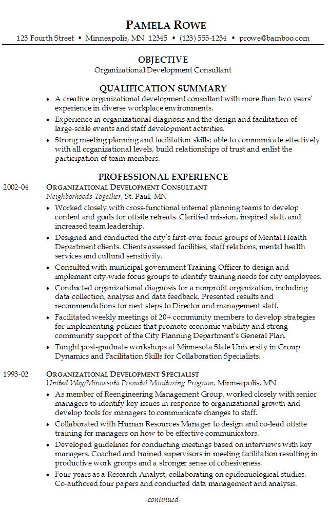 sample resume for someone seeking a job as an organizational development consultant