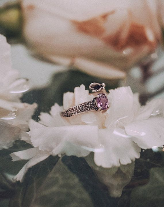 Alexandrite Floral Ring  texturized silver June gemstone by ikcha