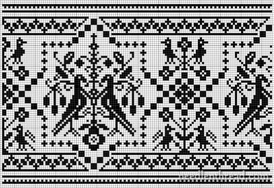 """Here's a remake of a bird border from an old German needlework book, published in the late 1800′s."""