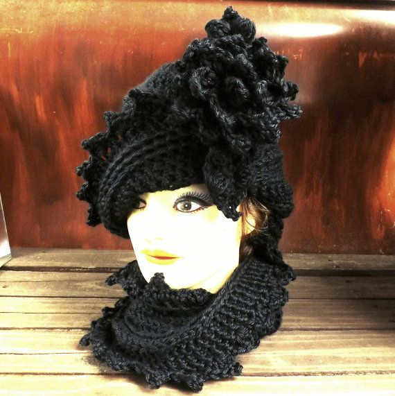 Click #strawberrycouture Crochet Hat and Scarf Womens Hat and Scarf Set Lauren Cloche Hat Crochet Flower Black Crochet Scarf Infinity Scarf  Winter Scarf by strawberrycouture