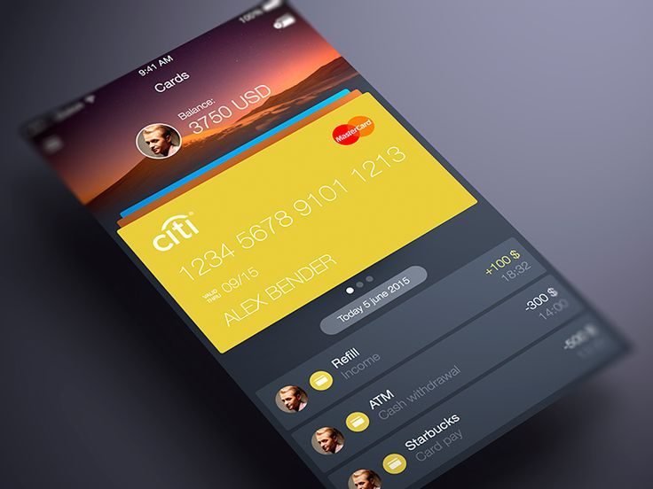 Finance App UI Cards by ALEX BENDER