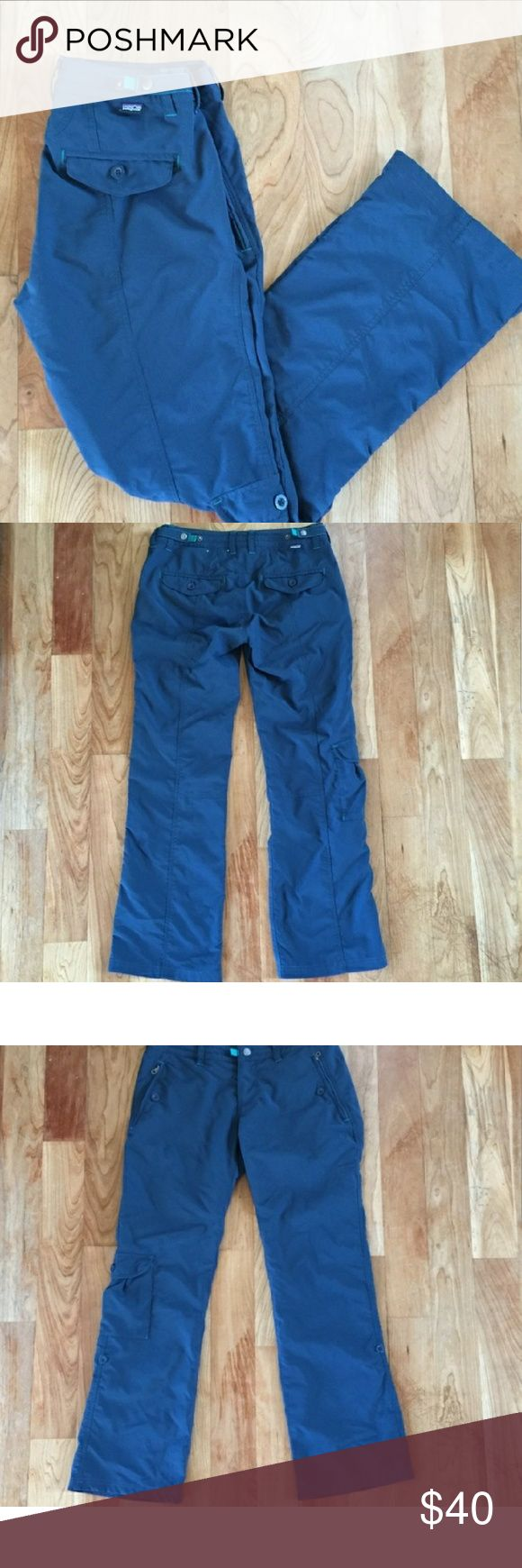 Patagonia Outdoor Pants Super awesome, breathable Patagonia pants. they great for outdoors, hiking, or whatever! They can still up into capris & have a nice pocket lb the side. Super pretty blues with teal & like new condition. They've only been worn a few times when I took them on a trip & realized they were too small. I love these pants & would Wear them all the time if I wasn't a size 4 now. Patagonia Pants Straight Leg