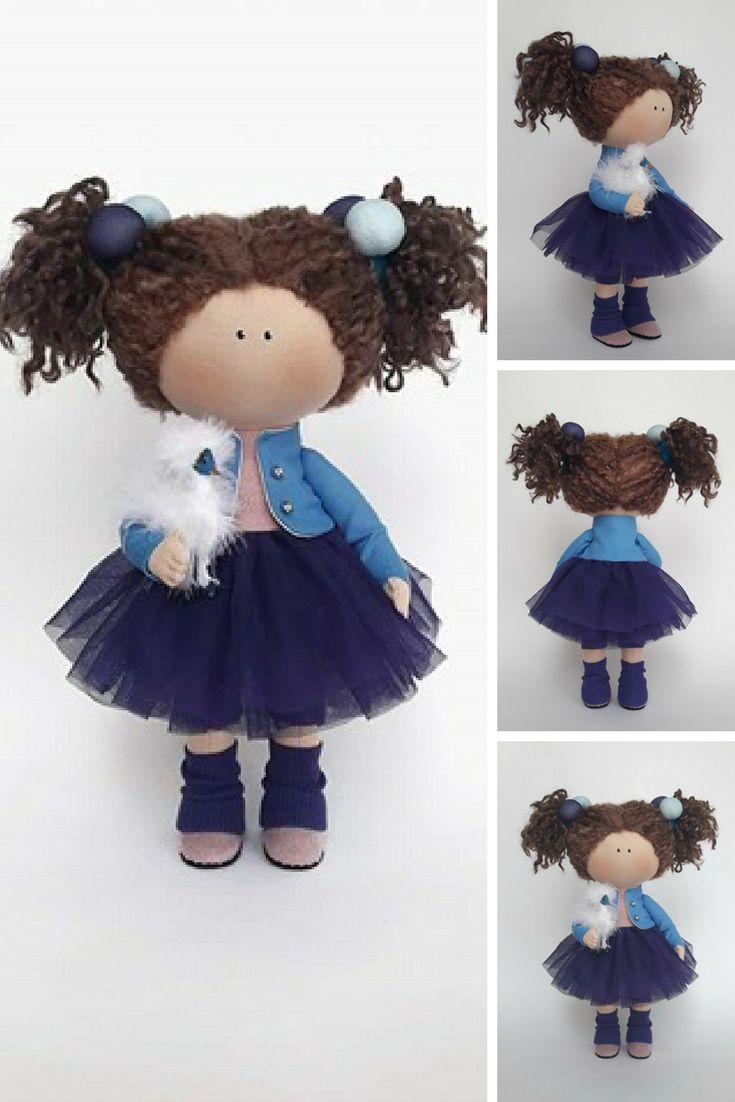 Blue Doll Nursery Doll Collectable Doll Cloth Doll Baby Doll Rag Doll Interior Doll Tilda Decor Doll Handmade Doll Fabric Doll by Irina E