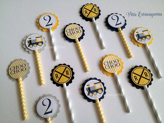 Choo Choo Train Cupcake Toppers - Set of 12  Choo Choo Train Party, Railroad Party, Yellow and Gray Party