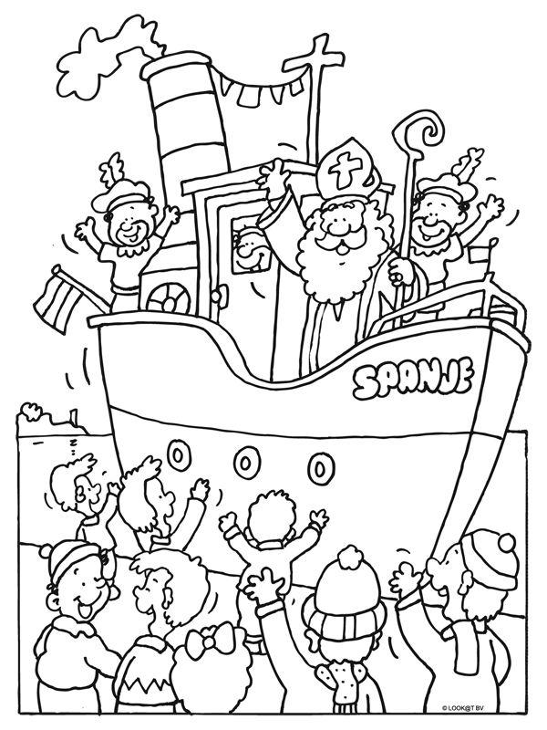 Kleurplaat Sinterklaas aankomst in Nederland - Almere - Kleurplaten.nl