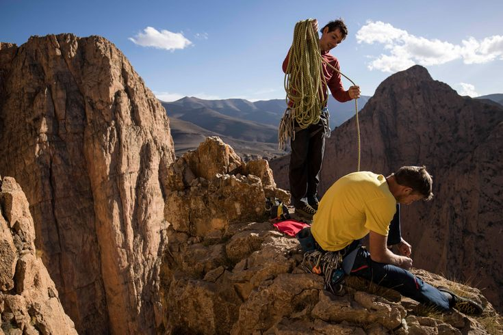 Picture of Alex Honnold and Tommy Caldwell packing their climbing gear in Taghia, Morocco