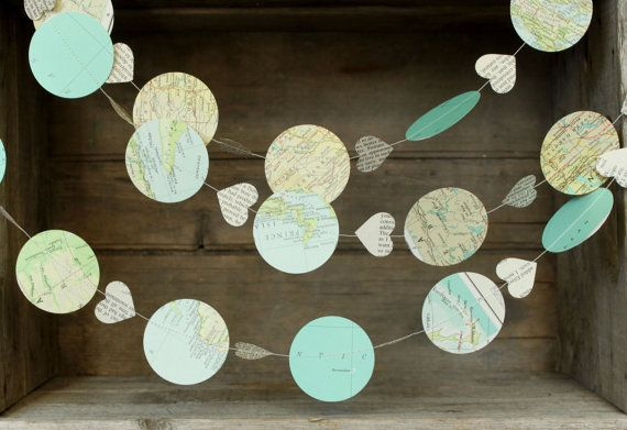 Atlas Garland, Party Decoration, Bon Voyage Party, Map Decoration, Paper Garland, Hot Air Balloon Garland, Travel Theme Wedding Garland