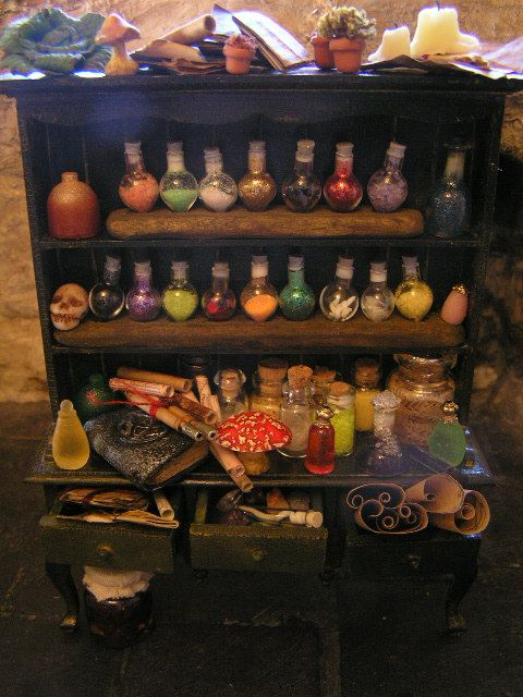 Large Potions Cupboard Witch Cabinet
