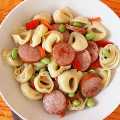 Tortellini with Edamame and Smoked Sausage -