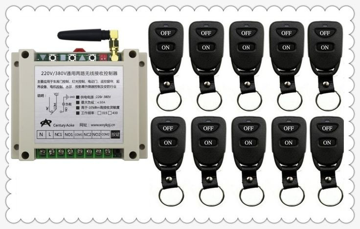 New AC220V 250V 380V 30A 2CH Remote Control Light Switch Relay Output Radio Receiver Module and 10pcs Belt buckle Transmitter