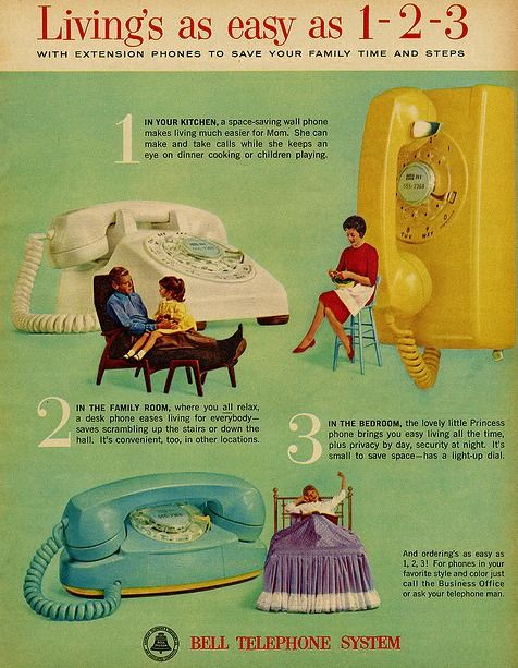 Vintage advert for a retro bell telephone system. dstele.com