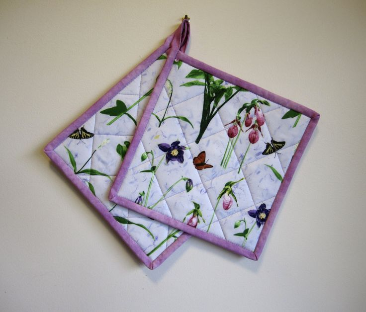 """Quilted Potholders """"Purple Orchids"""" Set of 2 Quilted Hotpads, Quiltsy Team, Fabric Trivet, Pink and Lavender Orchids by OrchidFabricDecor on Etsy"""
