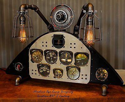 Steampunk-Machine-Age-Lamp-Aviation-Insturment-panel-Stearman-Boeing-PT-13-N2S-5