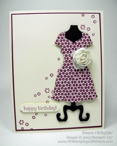 Dress up framelits, Sycamore St. dsp, white and black card stock, vanilla flower trim, small greeting, word window punch, small stamp for background, rich razzleberry ink