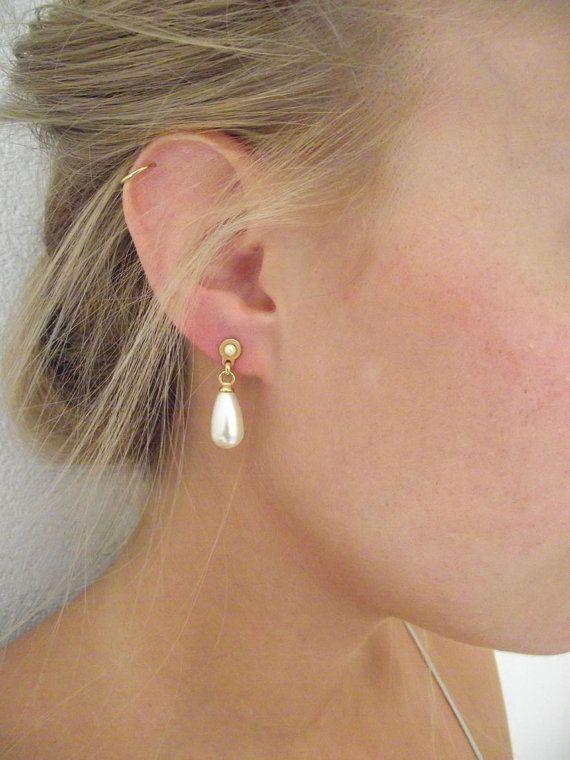 Bridal Pearl Earrings Teardrop Pearl Earrings Wedding Jewelry