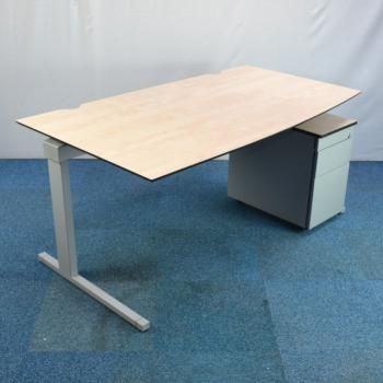 Techo Maple 1600x900 Bow Fronted Desk Used Office Furniture For Uk
