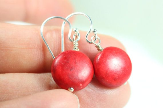 Red Earrings Red Jewelry Red Disc Earrings Red by hazaricreations