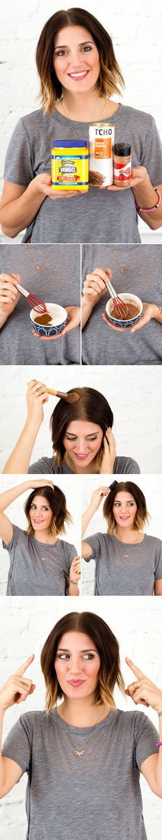 All you need to make this DIY dry shampoo for brunettes is cornstarch, unsweetened cocoa powder and cinnamon. 1. Mix ingredients together. 2. Apply to your roots using a makeup brush. 3. Use your fingers to blend it in. 4. Comb it through.