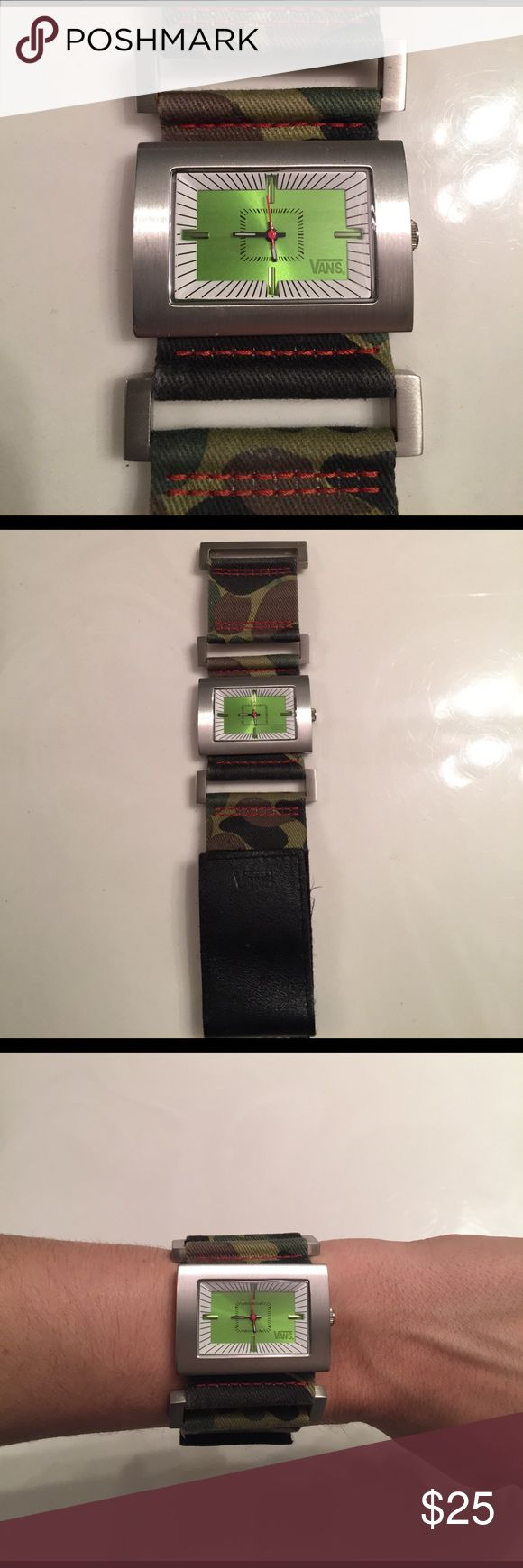Vans Camo red detail lime green face watch Super rad watch! I'm a nurse and wound up using a Nixon with a micro hand. Has not been worn much. Genuine leather band with Velcro strap for the perfect fit! Needs a trip to the mall or shop for a battery! Vans Accessories Watches