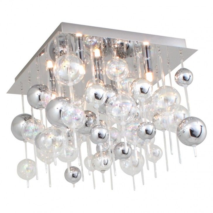 Small Morfeo Ceiling Light with Glass and Chromed Orbs