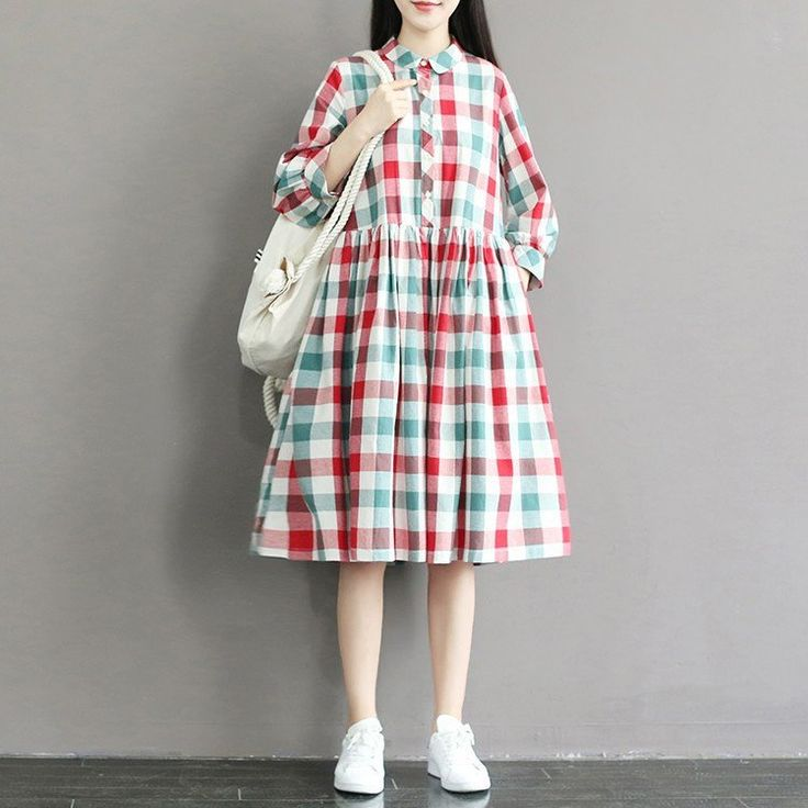 Women grid summer cotton  loose dress