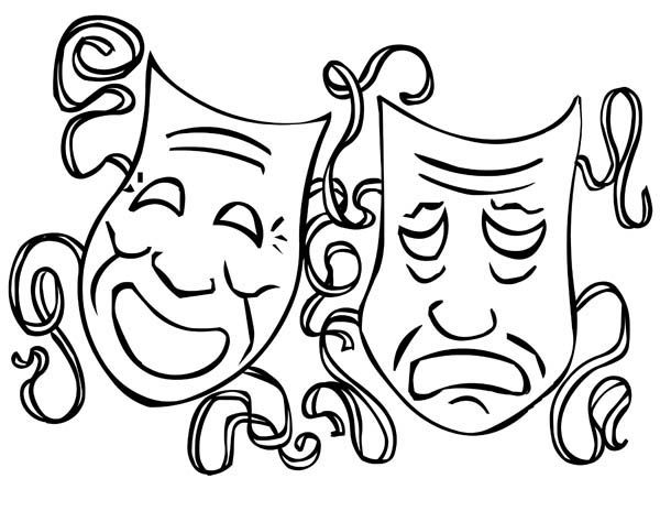 mardi gras masks coloring pages   Mardi Gras, : The Twin Comedy and Tragedy Mask on Mardi Gras Coloring ...