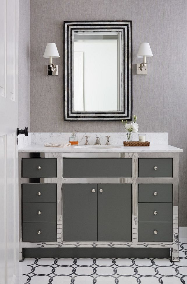 East Coast Inspired Shingle House   Powder Room: Glamorous Powder Room With  Custom Vanity And Phillip Jeffries Wallpaper.