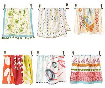 Anthropologie Dish Towels.. I should totally try making really cute dish towels