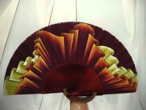 ABANICOS PINTADOS A MANO originales y de diseño por Cecilia de la Fuente - YouTube