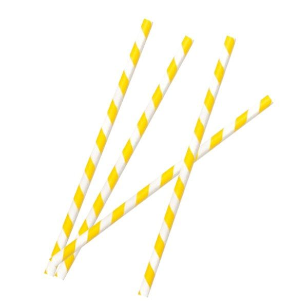 Yellow Paper Straw Coated with Beeswax 8 in. - 25 Pcs Pack
