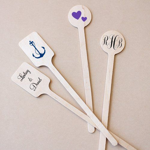 Personalized Wedding Stir Sticks by Beau-coup