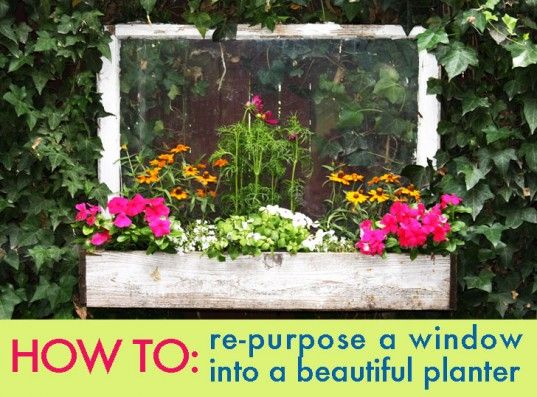 HOW TO: Re-purpose An Old Window Into A Beautiful Planter | Inhabitat -   MATERIALS  What you'll need:  •An old window  •Measuring tape  •Hand saw  •Drill  •Wood screws  •Lumber for the front and sides  •Lumber for the base  •Wire mesh for the base  •Wire to hang the planter (optional)
