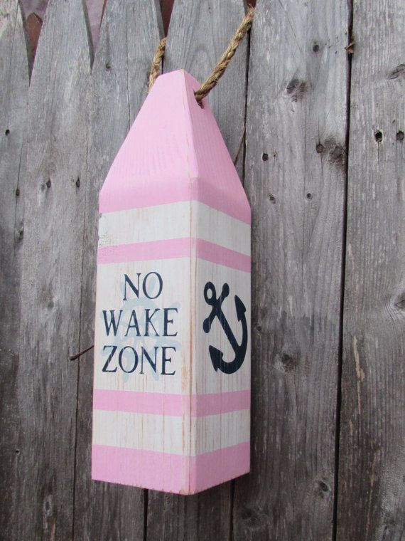No Wake Zone Buoy. Girls Nautical Decor. Pink And Navy Nautical Nursery. NO WAKE ZONE! This hand painted buoy is perfect for almost any girls