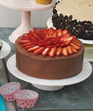 Yellow Cake With Fresh Strawberry Filling, Chocolate Sour Cream Frosting, and Strawberries | RealSimple.com