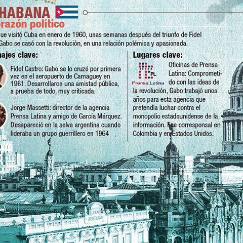 En La Habana tenía uno de sus grandes amigos: Fidel Castro. Allí trabajó con la Agencia Latinoamericana de noticias 'Prensa Latina', buscando enfrentar el monopolio estadounidense de la información. #inf0graphicsrules #infografia #infographics #infographic #illustration #illustrationoftheday #Colombia #Colombiano #Gabrielgarciamarquez #Aracataca #Macondo #Cienañosdesoledad #100añosdesoledad #writer #escritor #Lahabana #Cuba #Barcelona #Paris