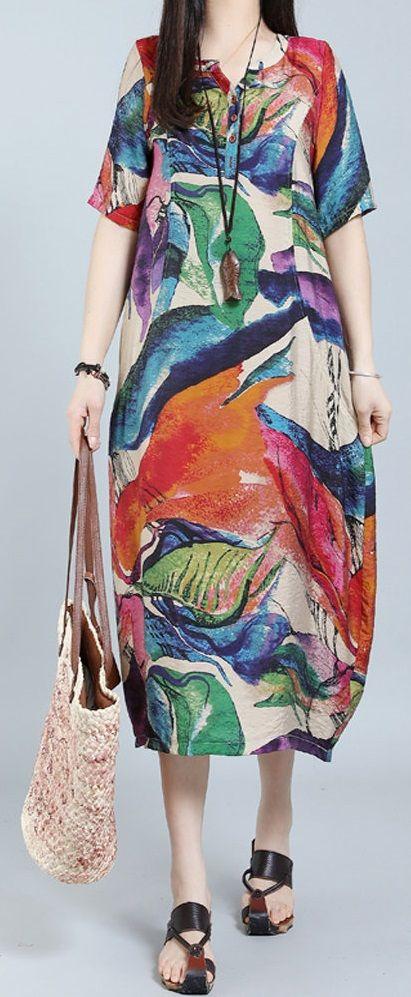 US$21.00 O-NEWE Elegant V-neck Short Sleeves Printed Dresses For Women