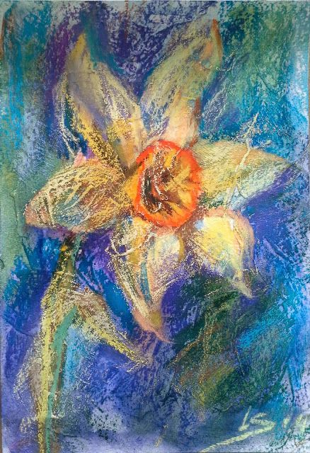 Original Pastel Painting: Clear gesso - oil effect by LS