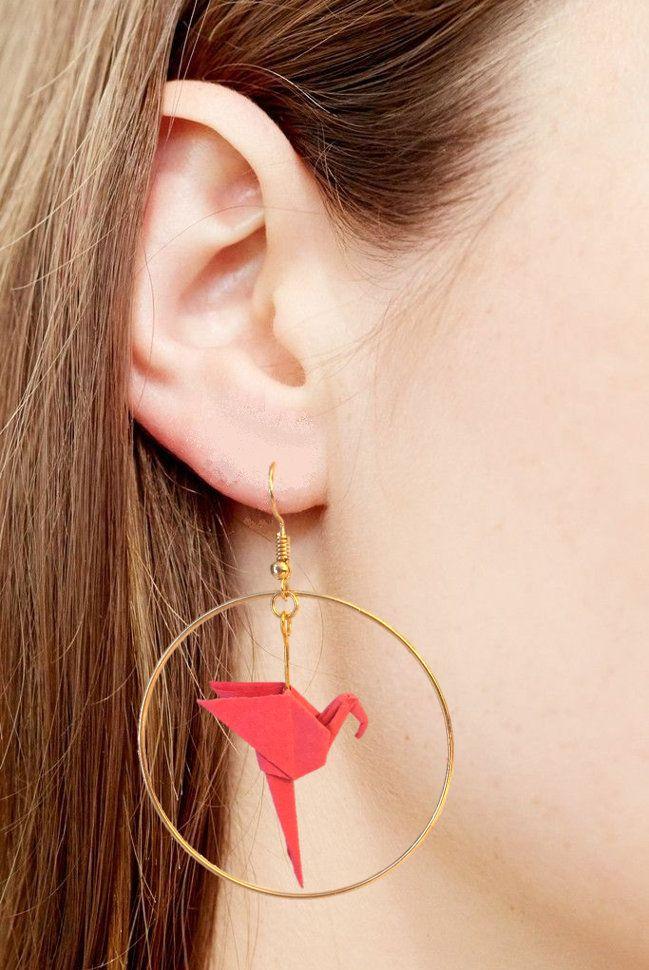 Boucles d'oreilles créoles anneau doré flamand rose origami originales él…
