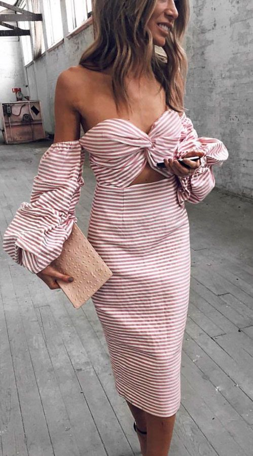 off shoulder #striped #blush #ruffle dress #outfit