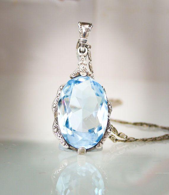 Antique Art Deco Blue Paste Aquamarine and Silver