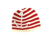 HANDMADE: Breton stripe wool hat for 0-6 months baby nautical anchor sailor #EasyPin