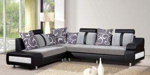 Modern Sofa Set Designs For Living Room Living Room Contemporary Black Sectional Sofa With Grey Fabric