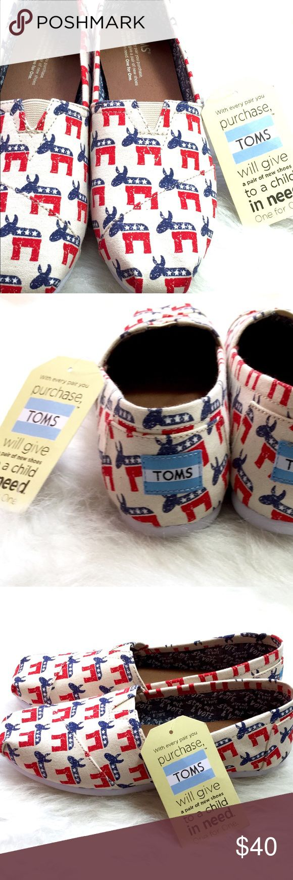 """VOTE TOMS DEMOCRATIC DONKEY slip on loafers! HURRY & GRAB FOR NOV 8th!! Wear your always fashionable registration on your feet with these vegan leather limited edition Election Day TOMS. USA red, white & blue Democratic Donkeys flaunt your political style and will pair perfectly with any pant, top, skirt, jogger or styrofoam voter hat in your closet. Inside chambray lining uplifts our right with """"Step out & Vote."""" Encourage others! Get em to the poles! Wear that sticker! Regardless of…"""