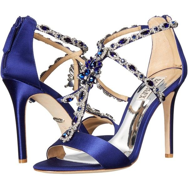 Badgley Mischka Georgia (Indigo Satin) High Heels ($196) via Polyvore featuring shoes, blue, evening shoes, indigo shoes, blue evening shoes, leather sole shoes and stilettos shoes